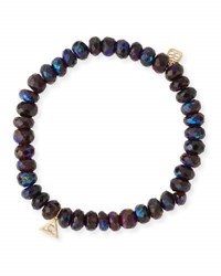Sydney Evan Beaded Mystic Dark Garnet Bracelet With Diamond And Sapphire Flower Eye Charm