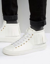 Asos Fringe High Top Trainers In White White