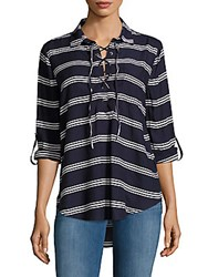 Beach Lunch Lounge Striped Lace Up Top Blue