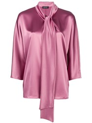Gianluca Capannolo Bow Tie Sheen Blouse Pink And Purple