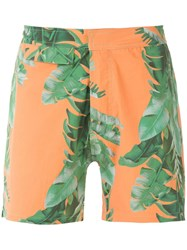 Amir Slama Foliage Print Swim Short Green