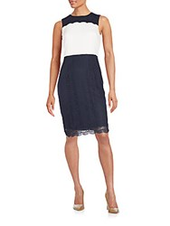 Karl Lagerfeld Two Tone Lace Sheath Dress White Blue