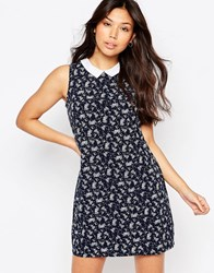 Yumi Ditsy Floral Shift Dress With Contrast Collar Navy