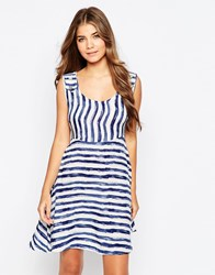 Pussycat London Dress In Stripe Blue