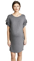 Ingrid And Isabel Ruffle Sleeve T Shirt Dress Medium Heather Grey