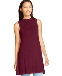 Eyeshadow Juniors' Sleeveless Mock Neck Tunic Cardinal