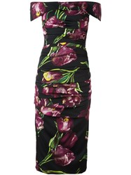 Dolce And Gabbana Tulip Print Ruched Dress Multicolour