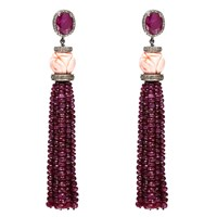 Nush Ruby And Coral Tassel Earrings Red