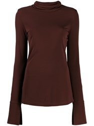 Joseph Roll Neck Top Brown
