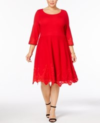 Charter Club Plus Size Lace Hem Sweater Dress Created For Macy's Diva Red