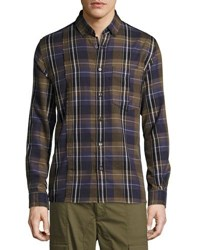 Public School Retro Plaid Cotton Exposed Seam Shirt Olive