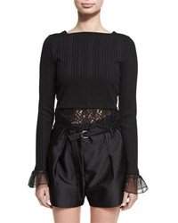 3.1 Phillip Lim Long Sleeve Rib Knit Cropped Top W Lace Black