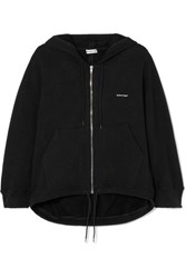 Balenciaga Cocoon Printed Stretch Cotton Blend Jersey Hoodie Black