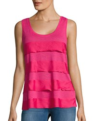 Lord And Taylor Mixed Media Tiered Tank Tulip Pink