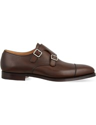 Crockett Jones And Lowndes Leather Double Monk Shoes Brown