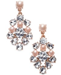Charter Club Rose Gold Tone Crystal And Pink Imitation Pearl Chandelier Earrings Only At Macy's