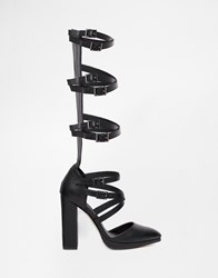 Asos Precious Caged Pointed Shoes Black