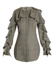 Sara Battaglia Prince Of Wales Checked Wool Blend Top Black White