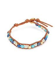 Chan Luu Lapis Turquoise Amazonite 18K Gold Plated Sterling Silver And Leather Bracelet Blue