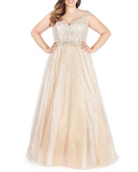 Mac Duggal Sweetheart Sequin Corset Ball Gown With Beaded Bodice Plus Size Nude Silver