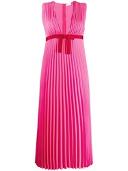 Red Valentino Pleated Georgette Dress Pink