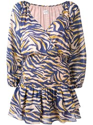 Suboo Into The Wilds Shirred Wrap Mini Dress Blue