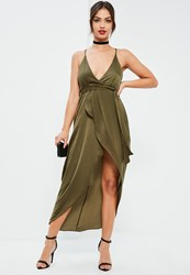 Missguided Green Silky Wrap Asymmetric Dress Olive