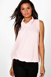 Boohoo High Neck Sleeveless Blouse Pink