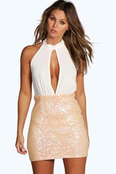 Boohoo Iridescent Sequin Keyhole Bodycon Dress Ivory