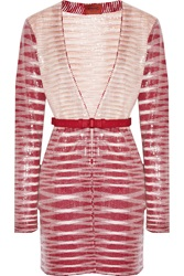 Missoni Sequined Striped Ponte Cardigan Red