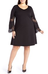 Addition Elle Love And Legend Plus Size Women's Lace Inset Bell Sleeve Swing Dress