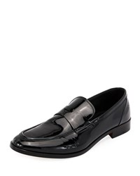 Giorgio Armani Formal Deconstructed Soft Patent Leather Loafer Black