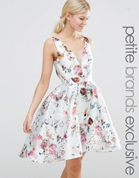 Chi Chi Petite London Plunge Front High Low Skater Dress In Allover Floral Print Grey Floral Multi