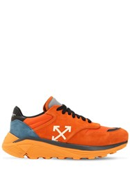 Off White Black Cotton And Suede Jogger Sneakers Orange