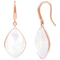 Auren 18Ct Rose Gold Vermeil Rainbow Moonstone Marquise Drop Earrings White Rose Gold