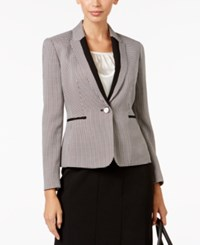 Kasper Petite Houndstooth Print One Button Blazer Black Ivory