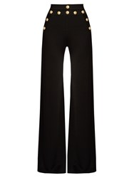 Balmain Wide Leg Knitted Trousers Black