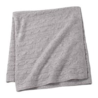 Sofia Cashmere Angel Cable Knit Baby Throw Grey