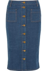 Tory Burch Rivoli Stretch Denim Pencil Skirt Mid Denim