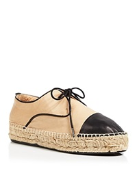 Charles David Lace Up Espadrille Flats Harper Nude Black