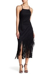 Alexia Admor Faux Leather Fringe Dress Black