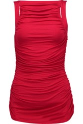 Bailey 44 Parvati Ruched Stretch Jersey Top Red