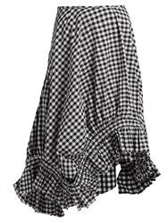 Marques Almeida Ruffle Trim Gingham Midi Skirt Black White