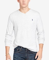 Polo Ralph Lauren Men's V Neck Long Sleeve Shirt Lawrence Grey