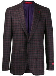 Isaia Checked Suit Jacket Blue