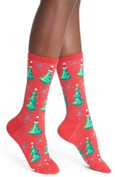 Women's Hot Sox 'Christmas Trees' Crew Socks Red