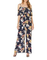 Laundry By Shelli Segal Floral Print Two Tier Palazzo Jumpsuit Peacoat
