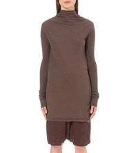 Drkshdw Cowl Neck Cotton Jersey Dress Macassar