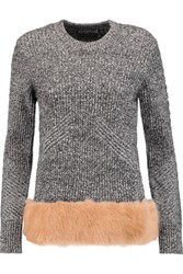 Opening Ceremony Faux Fur Paneled Wool And Cotton Blend Sweater Gray