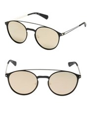 Guess 53Mm Double Bar Round Sunglasses Black